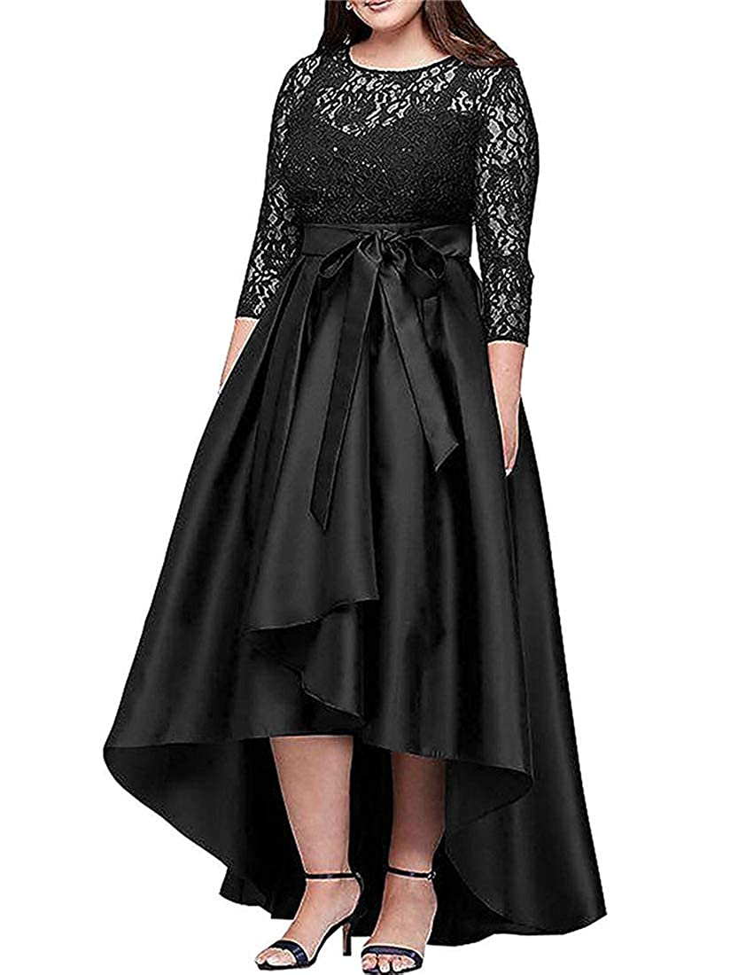 Black Stylefun Women's Lace Long Sleeves Hilo Mother of The Bride Dresses Formal Gowns with Sash XIN041