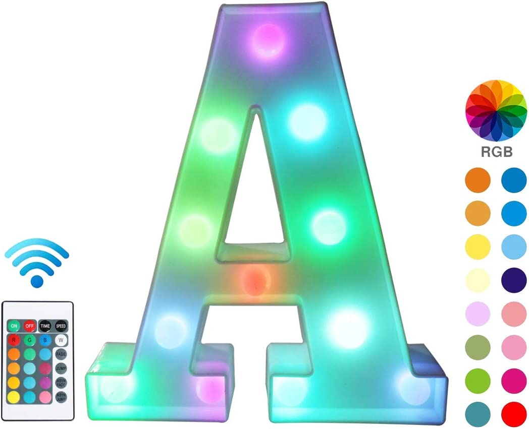 Colorful LED Marquee Letter Lights with Remote – Light Up Marquee Signs – Party Bar Letters with Lights Decorations for the Home - Multicolor A