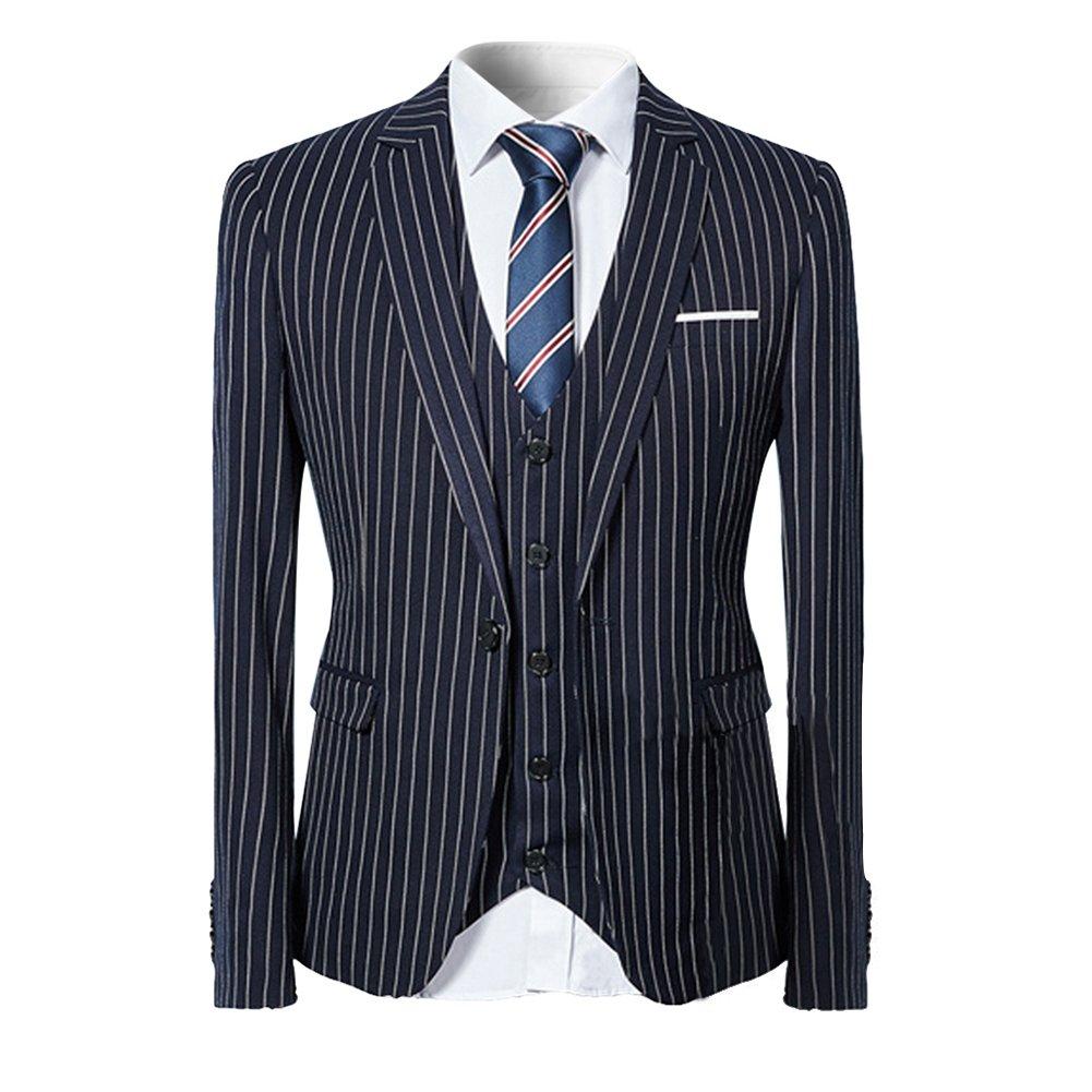 YFFUSHI スーツ メンス スリーピース 1つボタン 2つボタン S-3L ストライプ チェック 長袖 全10色 着心地抜群 通気性良い カジュアル スリム 高品質 四季 ファッション 大きいサイズ … B071S712D8 S|ブルー ブルー S