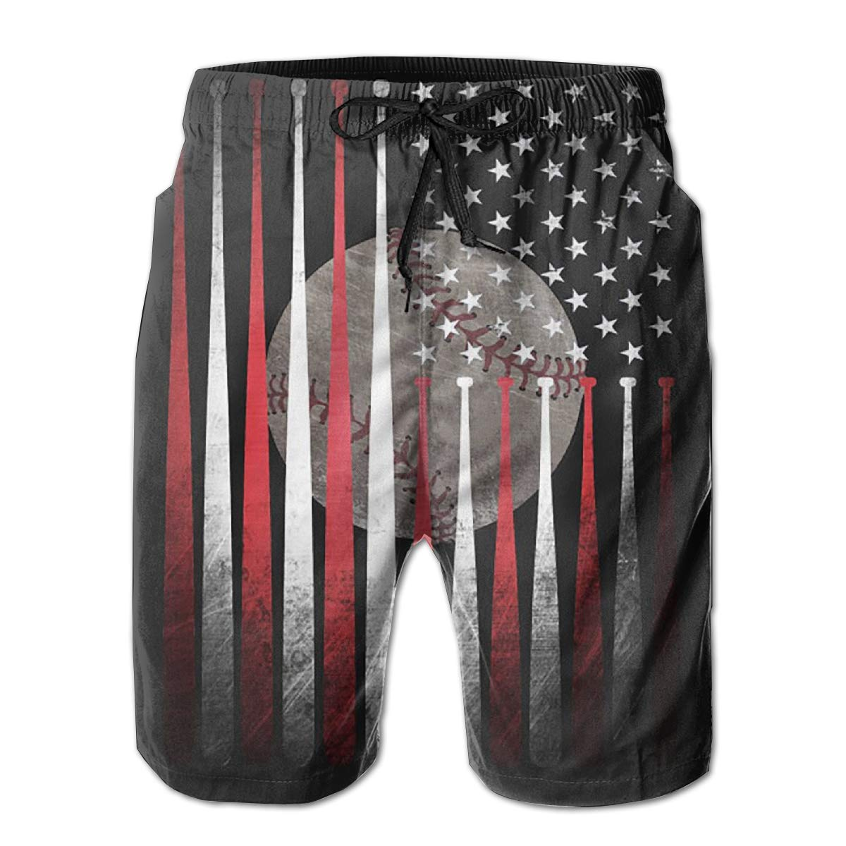 HZamora/_H Mens Vintage American Flag Baseball Summer Breathable Quick-Drying Swim Trunks Beach Shorts Board Shorts