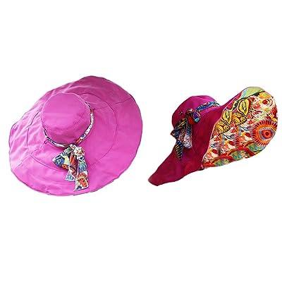 Qingsun Fashion d'ete Femmes Filles Wide Brim Floppy Chapeau Pliable Chapeau de paille à large bord pour Plage et Voyage- Rose