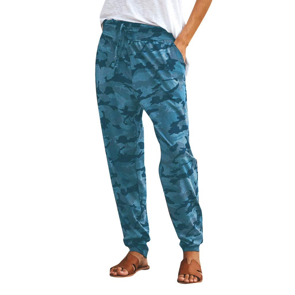Botrong Pants for Women Camouflage Printed Casual Sports Long Pants with Drawstring (Blue,M) by Botrong