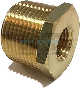 "EDGE INDUSTRIAL Brass REDUCING HEX Bushing 3/4"" Male NPT X 1/4"" Female NPT Fuel / AIR/ Water / Oil/ Gas WOG (Qty 01)"