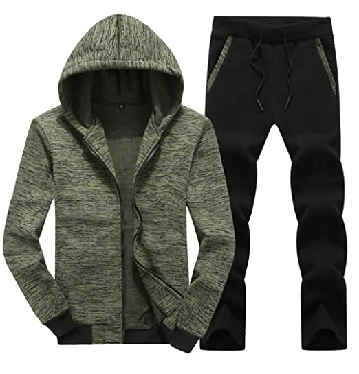 Buy chenshijiu Men's Active Jackets 2PCS Sets Running Outfits Hoodies  Workout Tracksuits Green XXL at Amazon.in