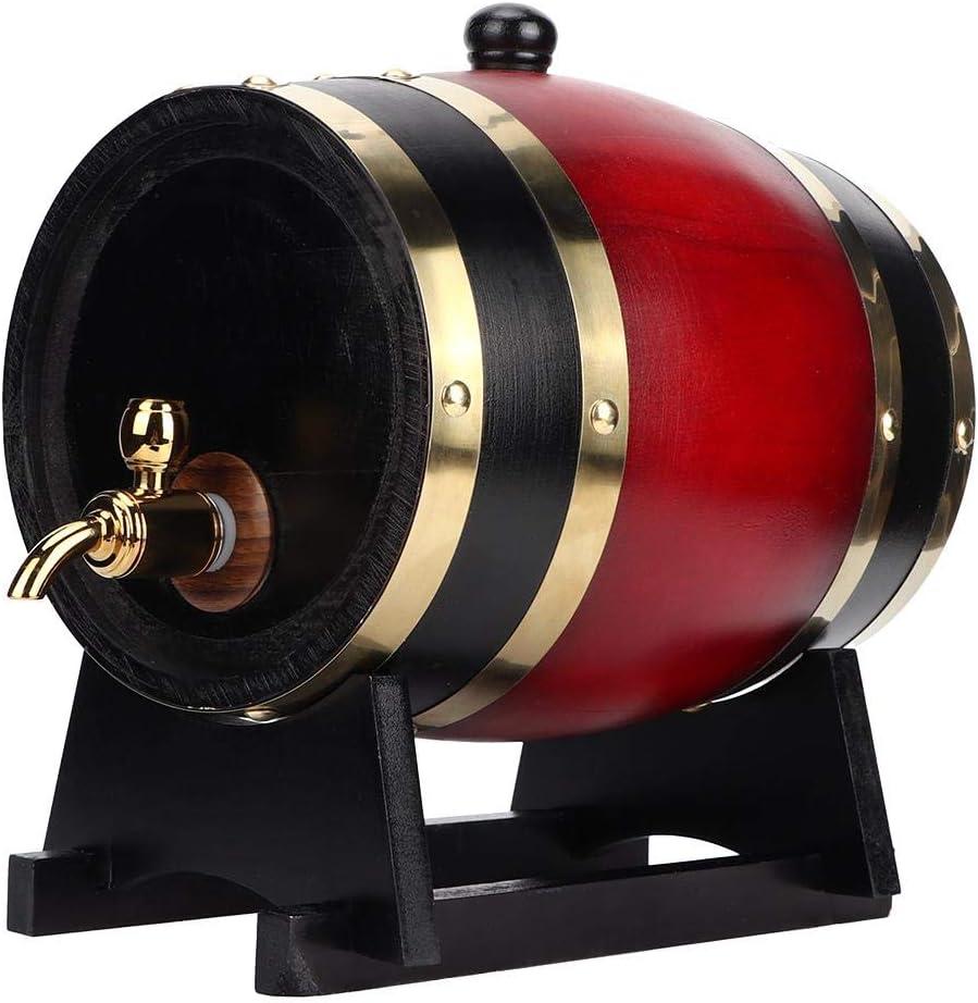 Aufee Barril de Cerveza, 3L Vintage Oak Barrel Wood Beer Wine Keg Dispensador de Cubos Accesorios para Equipos de elaboración de Cerveza(Vino Tinto)