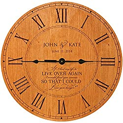 LifeSong Milestones Personalized Wedding Anniversary Clock If I had to do over again I would find you sooner so that I could love you longer (Cherry)