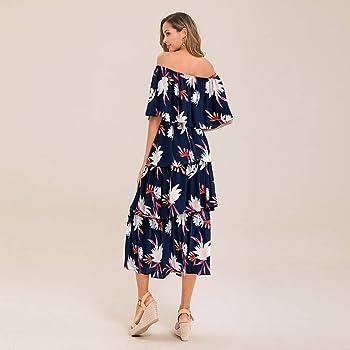 Vestido Mujer De Pastel Fuera del Hombro Vestido Sin Hombros De Halter Vestido De Tubo De Un Solo Pecho Vestido Larga Irregular Maxi Vestido Bohemio Estampado Vestido Hendidura Vestido Playeros: Amazon.es: Ropa