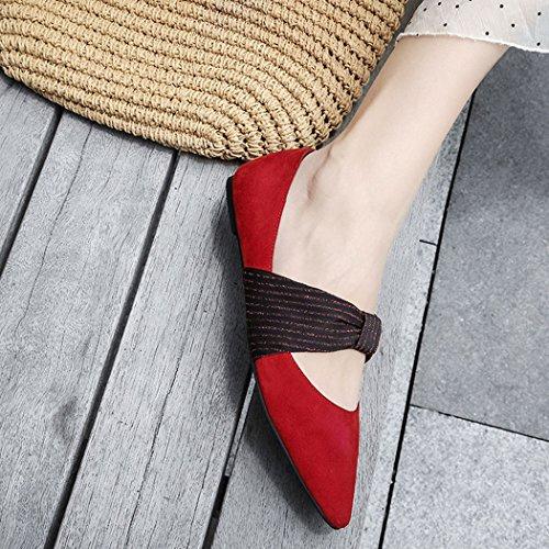 Plano Zapatos Casuales la Rojo de Punta de Bombas de de Ocasionales Salvaje Carrera Trabajo Zapatos Zapatos Manera Mujer Zapatos de del Estrecha GAOLIXIA Arco gw16O0qxW