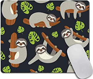 Amcove Funny Sloth Mouse Pad, Sloth on The Branch Mouse pad,Office Desk Accessories, Leaves and Cute Sloth Gifts for Her, Office Decor, Sloth Mousepad, Desk Decor