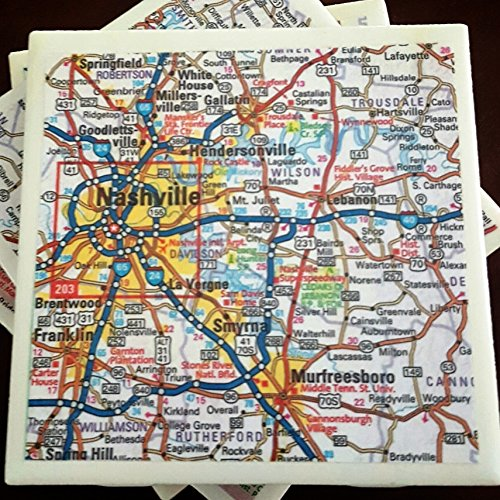 Tennessee Map Coasters, Featuring Nashville and Chattanooga, Set of 4 (Tennessee Chattanooga Map)