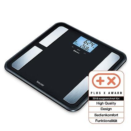 Beurer BF850 - Báscula de baño corporal diagnóstica Bluetooth, compatible con App en español Health Manager, 4 electrodos, Android y iOs, negro, 32.5 ...