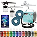 Bakery Airbrush Cake Kit with 3 Airbrushes, Compressor, 2 Air Hoses & 12 Color Chefmaster Food Coloring Set, .7 fl ounce