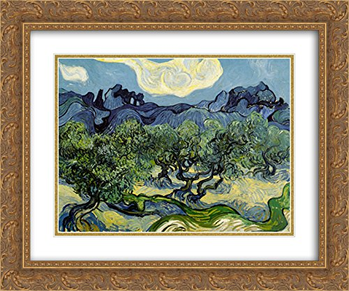 The Olive Trees, 1889 2X Matted 15x18 Gold Ornate Framed Art Print by Vincent Van Gogh