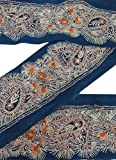 Vintage Sari Border Antique Embroidered Indian Trim Blue Ribbon 1YD Sewing Lace
