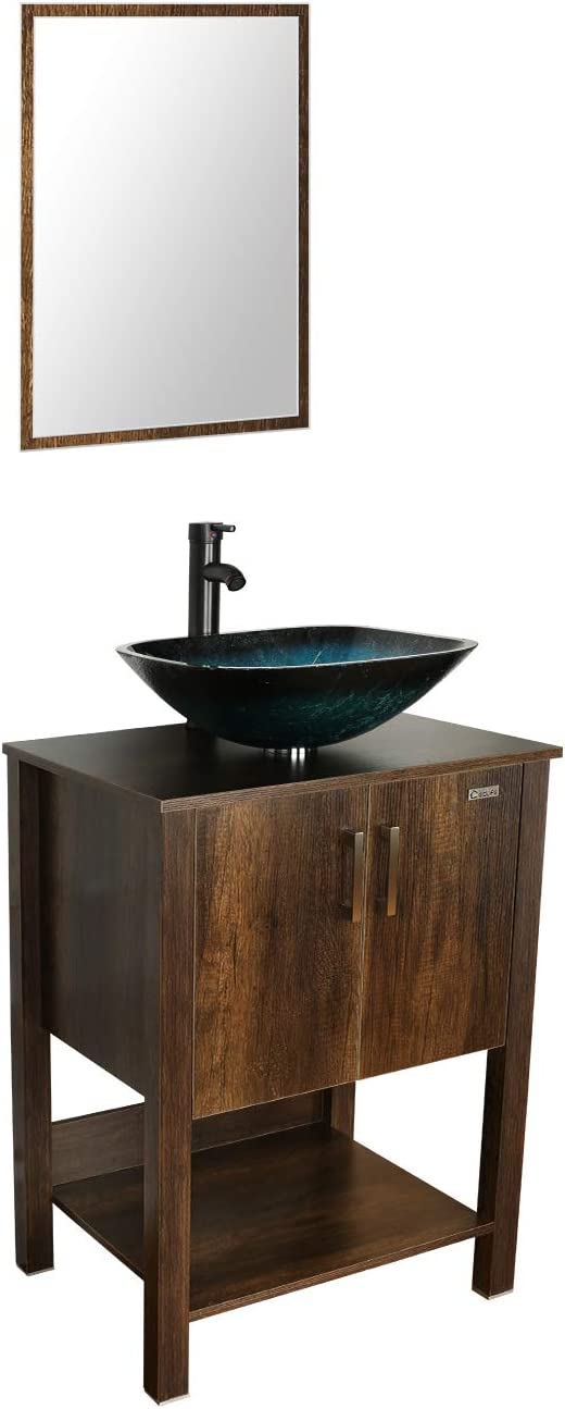 eclife 24'' Bathroom Vanity Sink Combo Brown Cabinet Vanity Turquoise Square Tempered Glass Vessel Sink & 1.5 GPM Water Save Faucet & Solid Brass Pop Up Drain, With Mirror (A10 B12C)