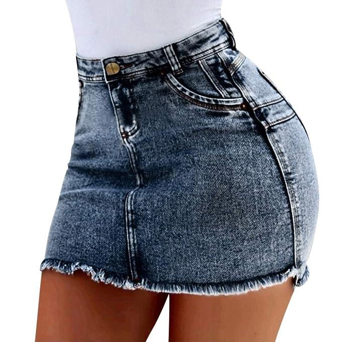 06d3b68660 Italily Donne Blu Casuale Jeans Gonna,Buco Estate Pulsante Corto ...