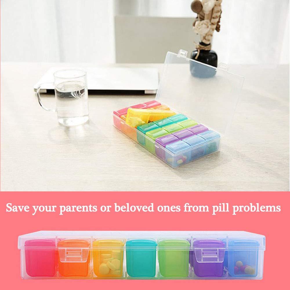 contenitore per pillole in alluminio in metallo 3 volte al giorno organizer portatile per farmaco porta pillole da viaggio con portachiavi HOSTK Portapillole settimanale per 7 giorni