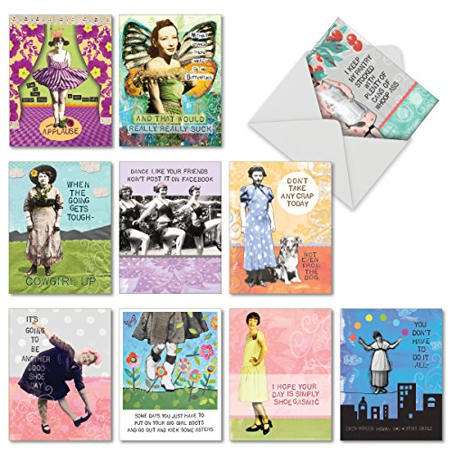 M6571OCB Bodacious Broads: 10 Assorted Blank All-Occasion Note Cards Featuring Collaged Vivacious Vintage Gals Combined with Witty Sentiments, w/White Envelopes.