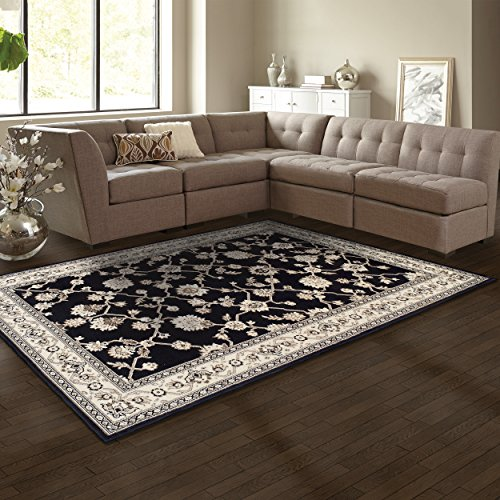 Superior Elegant Kingfield Collection Area Rug, 8mm Pile Height with Jute Backing, Classic Bordered Rug Design, Anti-Static, Water-Repellent Rugs - Black, 27 x 8 Runner