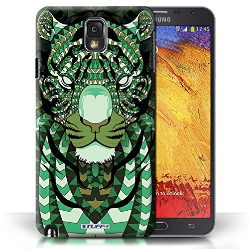 Etui / Coque pour Samsung Galaxy Note 3 / Tigre-Vert conception / Collection de Motif Animaux Aztec