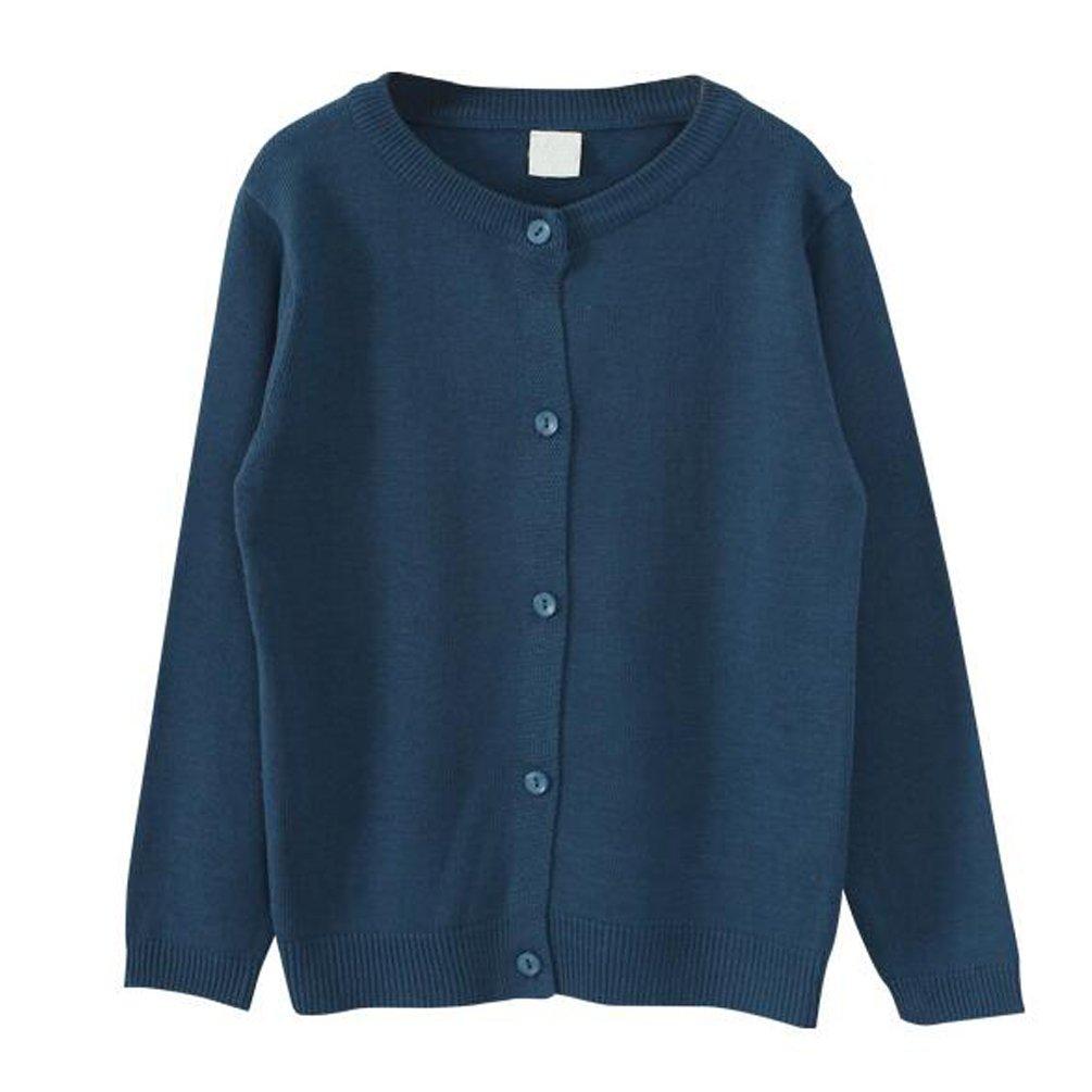 Dutebare Big Girls Knit Cardigan Long Sleeve Button Cotton Crewneck Uniform Sweaters Navy Blue 4-5T