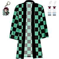 Demon Slayer Robes Kimetsu no Yaiba Kamado Tanjirou Agatsuma Zenitsu Kamado Nezuko Costume Cosplay Cloak with Earrings…
