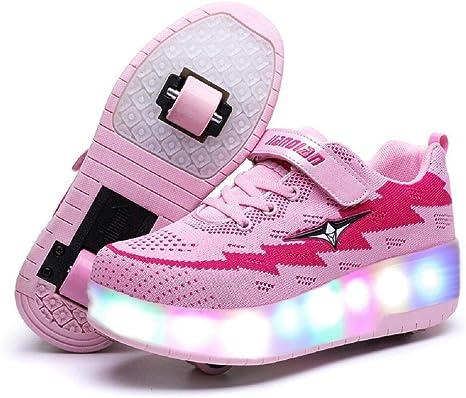 ONEKE Patines con Ruedas para niños y niñas, Zapatos con luz USB, Carga USB, Zapatos con Ruedas, Zapatillas para Correr, Patines Deportivos, Zapatos de Patinaje para Principiantes: Amazon.es: Deportes y aire libre