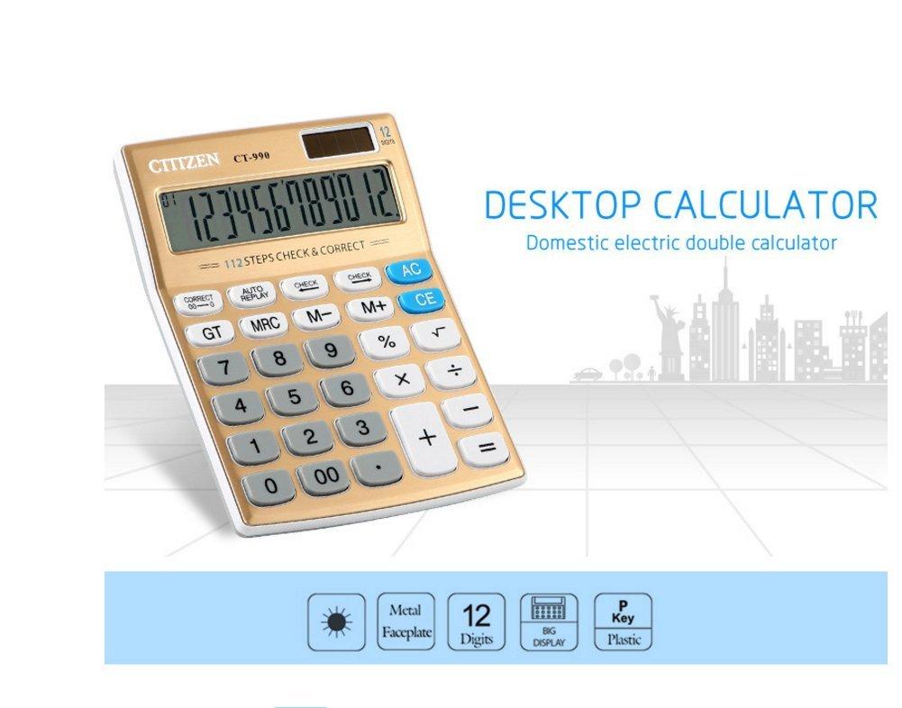 Calculator, Hysada Elegant Design Large Electronic Desktop Calculator with 12-digit Large Display, Solar and Battery Dual Power Variation