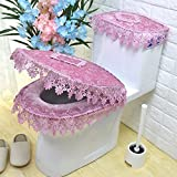 Wayer Toilet cushion,Luxury toilet seat cover 3 Pack set (Lid cover & Tank cover) Bathroom zipper super warm soft comfy -G