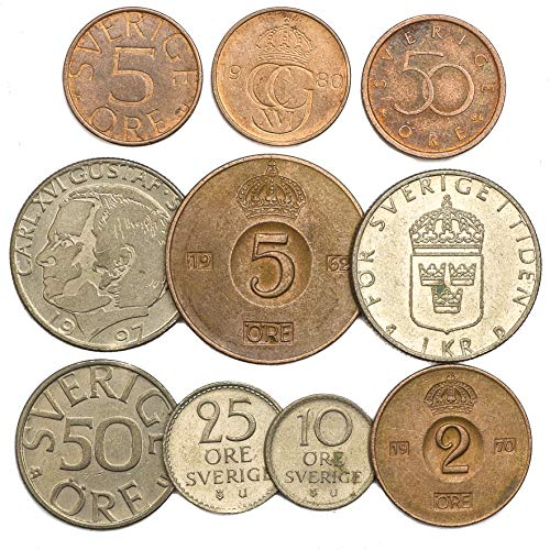 Krona Coin - 10 Old Coins from Sweden. Collectible Coins Swedish Ore Krona Kronor. Perfect Choice for Your Coin Bank, Coin Holders and Coin Album