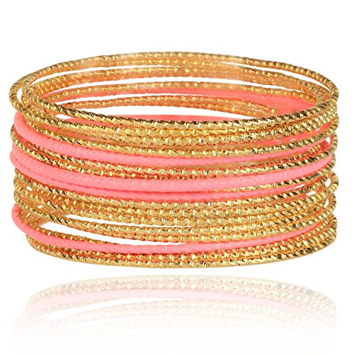 Lux Accessories Pink stone Cut Textured Metal Bangle Bracelet (Pink Stone Set)