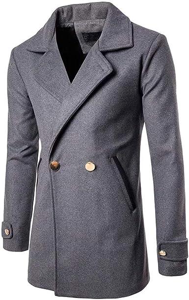 Manteau en Laine à Manches Longues Double Boutonnage pour
