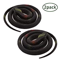 Homdipoo Realistic Fake Rubber Toy Snake Black Fake Snakes That Look Real Prank Stuff Cobra Snake 27 Inch Long (Black)