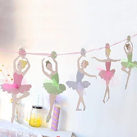 Sunbeauty Bandera De 10 Piezas Ballet Nina Tarjetas Diy Decoracion