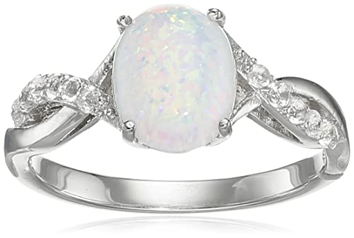 c3eb23ee6f785e Amazon.com: Sterling Silver Created Opal Ring, Size 8: Jewelry