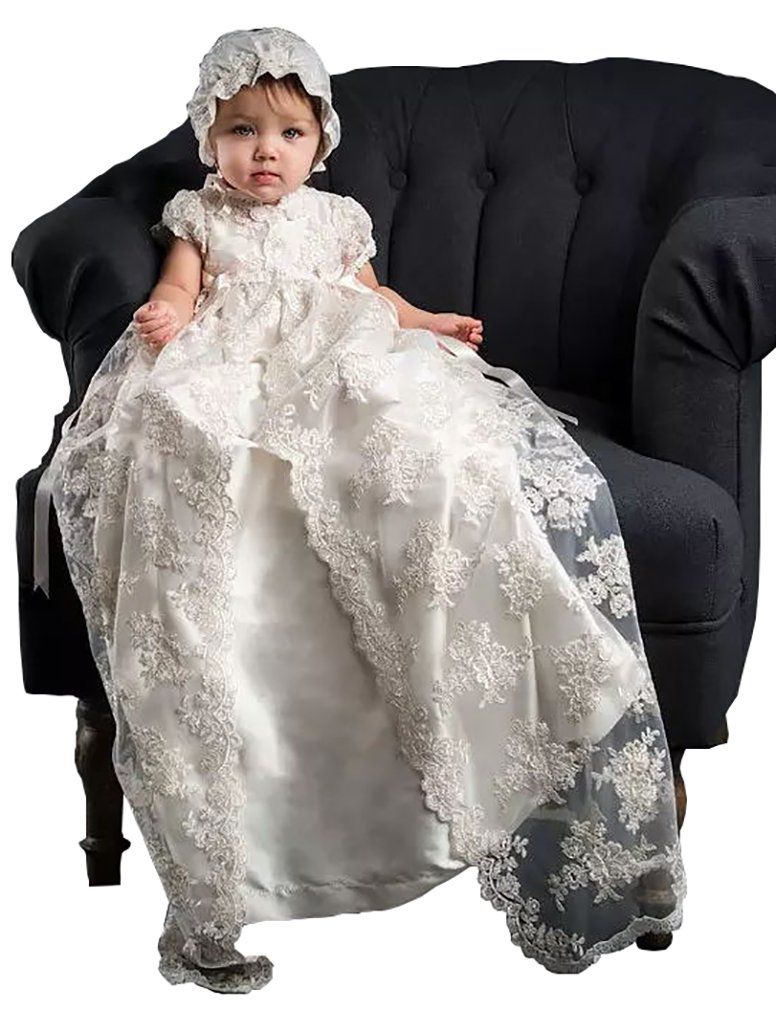 Aorme White/Ivory Lace Christening Gowns for Girls Baptism Dresses with Bonnet