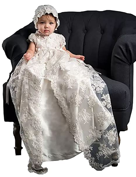ac0ef6ca3 Aorme White/Ivory Lace Christening Gowns for Girls Baptism Dresses with  Bonnet: Amazon.ca: Clothing & Accessories