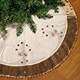 Valery Madelyn 48 Inch Elegant Champagne Gold Velvet Christmas Tree Skirt with Bow Tie String, Encircled by Embroidery Floral Beading Fringes Sponge Insert,Themed with Christmas Ornament(Not Included)