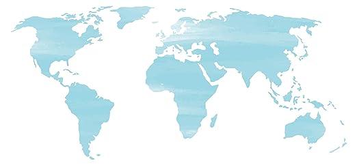 Pegatina de pared Salón Mapa del mundo Acuarela en azul claro con ...