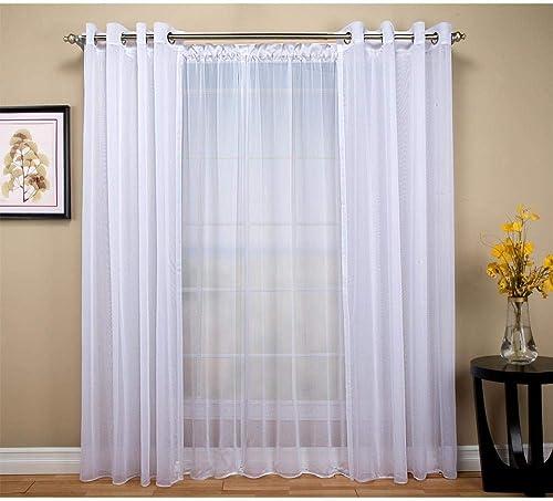 Tergaline Sheer White Double Wide Grommet Curtain Panel 108″Wx84″L