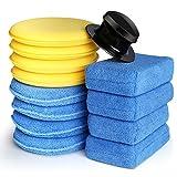 Electop 13 Pcs Car Wax Applicator Pads Kit 5 inch Microfiber Applicator Pads Blue Rectangle Microfiber Sponge Applicators Yellow Soft Foam Waxing Pad with Grip Handle