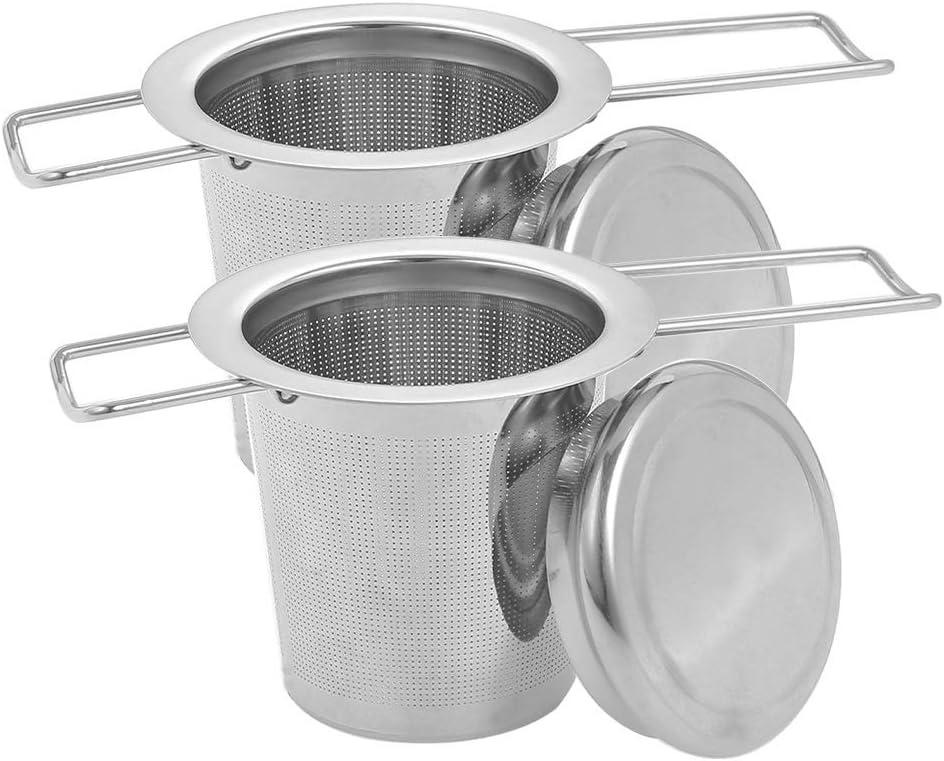 Opopark Filtros para té,2 Filtros de Té de Acero Inoxidable de Mango Largo con Tapa