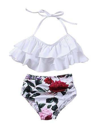 c99cfbc3128 Amazon.com: Girls Swimsuit Falbala High Waisted Bikini Set Halter Neck  Swimwear Dots Printing Bathing Suits: Clothing