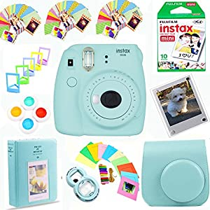The Tech Expert Fujifilm Instax Mini 9 Film Camera + Instax Film (10 Shots) + Photix Pleather Case + 64 Pocket Album+ Photix Self-Standing Frames + Stick-on Frames Exclusive Instax Design Bundle