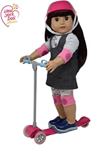 """The New York Doll Collection 18"""" Doll Scooter & Helmet Set - 18In Dolls Accessories Fit for American Girl Dolls, Our Generation Doll Bike Accessories Play Set & Doll Helmet"""