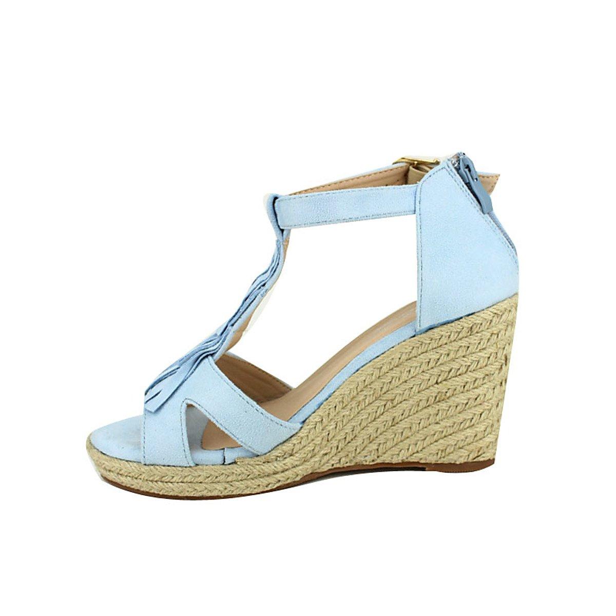 b1aea77a5dcee4 Chaussures Cendriyon Compensée Bleue à Franges CINKS Chaussures Femme  Compensée Bleue à Franges CINKS Chaussures Femme ...