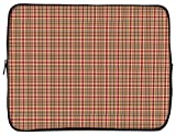 Designer Sleeves 15.6' Neoprene Laptop Bag Case Designed, Orange Red Color/Rusty Plaid (15GS2P-RP)