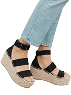 e67fe7fe9c5 Syktkmx Womens Platform Strappy Sandals Low Wedge Heeled Ankle Strap Summer  Espadrilles