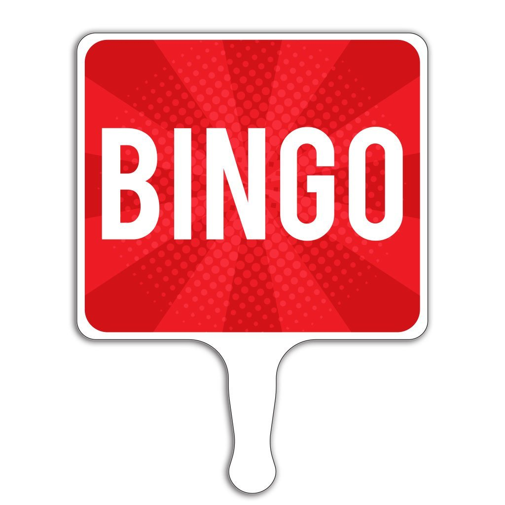 Bingo Hand Held Paddle Sign 8'' x 10.5'' Two Sided (12) by VictoryStore
