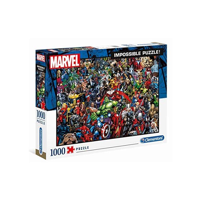 617hWPYDF4L Puzzle adulto 1000 piezas, con láminas de alta calidad de impresión, y troquelado preciso; con los personajes de Marvel y sus superhéroes Un Puzzle de vívidos colores, y alta calidad, para poderlo montar y desmontar cuantas veces se desee Favorece la concentración y las habilidades manuales